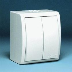 Выключатель двухклавишный IP54 белый 1594398-030