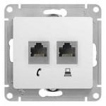 Розетка компьютер/телефон RJ45+RJ11 Glossa GSL000185 белый